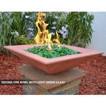 Concrete Fire Bowl Square Sedona with Light Green Fire Glass