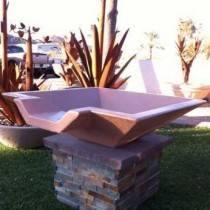 "42"" Classic Concrete Pool Fire Bowl Square with Scupper"