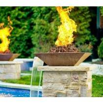 "24"" Classic Concrete Pool Fire Bowl Square with Scupper"