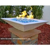 Concrete Fire Bowl Square White with Powder Blue Fire Glass
