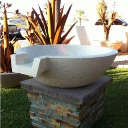 "33"" Classic Concrete Pool Fire Bowl w/ Scupper"