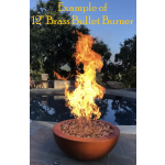 """30"""" Luxe Fire Bowl with 12"""" Brass Bullet Burner Upgrade - Deep Amber"""