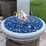 "30"" Tuscany Fire Bowl with Pacific Blue Reflective Glass and 12"" Brass Bullet Burner Top"