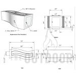 """72"""" Big Sur Wood Grain Concrete Fire Table Spec Sheet"""
