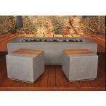 """78"""" x 32"""" x 20"""" Aspen GFRC Concrete Fire Table with Chairs - Rain Cloud"""