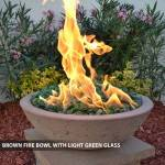 Concrete Fire Bowl Brown w/ Green Glass