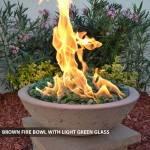 Concrete Fire Bowl Brown w/ Green Glass