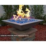 Concrete Fire Bowl Square Charcoal with Light Blue Fire Glass
