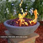 Concrete Fire Bowl Charcoal w/ Red