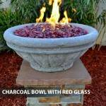 Concrete Gas Fire Bowl Tuscany Charcoal w/ Red Fire Glass