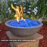 Concrete Fire Bowl Charcoal w/ Turquiose