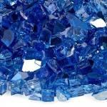"""1/2"""" Cobalt Blue Reflective Fire Glass Close"""
