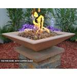 Concrete Fire Bowl Square Tan with Copper Fire Glass