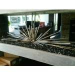 Custom Steel Desert Sticks in Home Fireplace