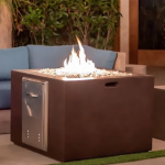 "34"" x 34"" GFRC Concrete Fire Cube - Beechwood"