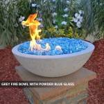 Concrete Fire Bowl Grey w/ Powder Blue