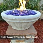 Concrete Gas Fire Bowl Tuscany Gray w/ Dark Blue Fire Glass