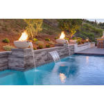 "30"" Luxe Fire & Water Bowls by Pool - Limestone"