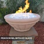 Concrete Gas Fire Bowl Tuscany Peach w/ Ice Fire Glass