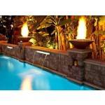 Cazo Concrete Gas Fire Bowls by Pool