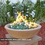 Concrete Fire Bowl Sage w/ Green