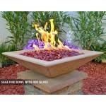 Concrete Fire Bowl Square Sage with Red Fire Glass