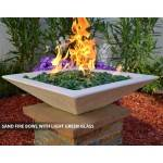 Concrete Fire Bowl Square Sand with Green Fire Glass