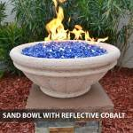 Concrete Gas Fire Bowl Tuscany Sand w/ Reflective Cobalt Fire Glass