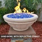 Concrete Gas Fire Bowl Tuscany Sand w/ Reflective Cobalt Fire Glass