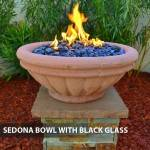 Concrete Gas Fire Bowl Tuscany Sedona w/ Black Fire Glass