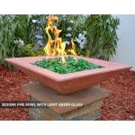 Concrete Fire Bowl Square Sedona with Light Green Fire Glass