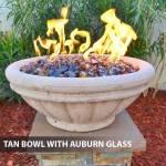 Concrete Gas Fire Bowl Tuscany Tan w/ Auburn Fire Glass