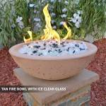 Concrete Fire Bowl Tan w/Ice Clear