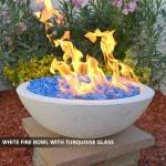 Concrete Fire Bowl White w/ Turqiouse