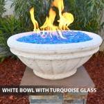 Concrete Gas Fire Bowl Tuscany White w/ Turquoise Fire Glass