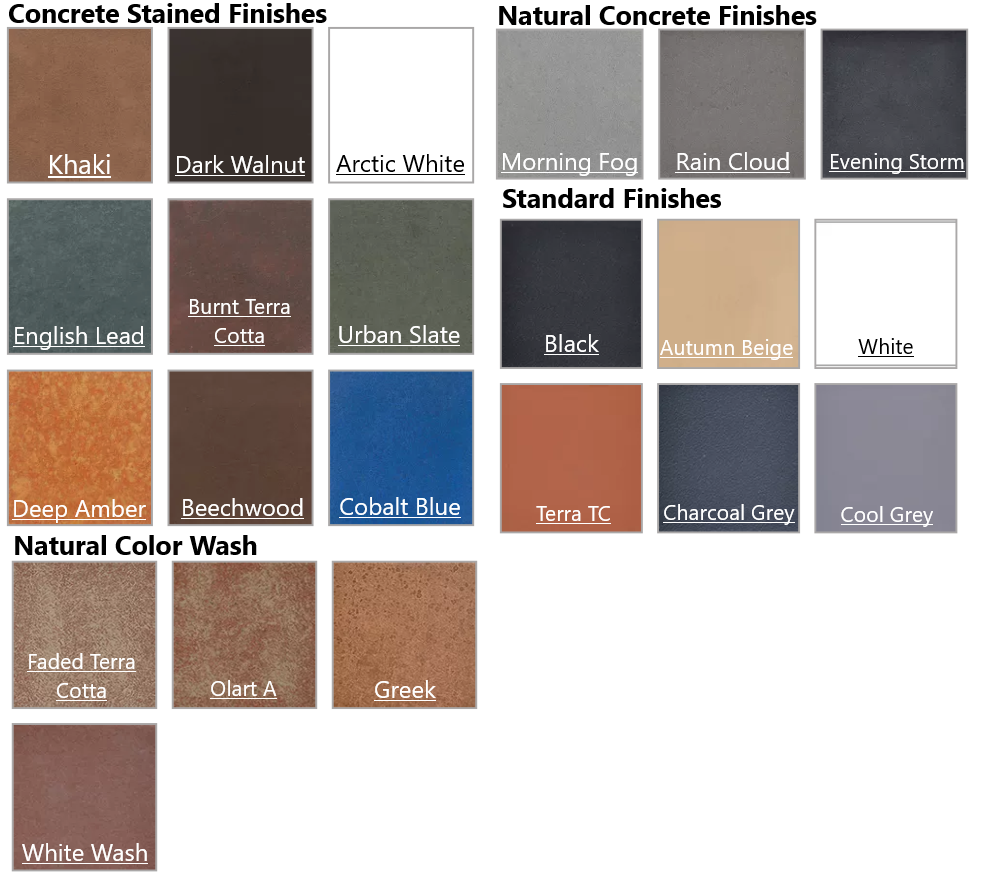 Concrete Colors/Finishes Available
