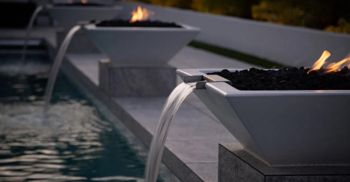 """30"""" Maya Fire and Water Bowls - Limestone/White"""