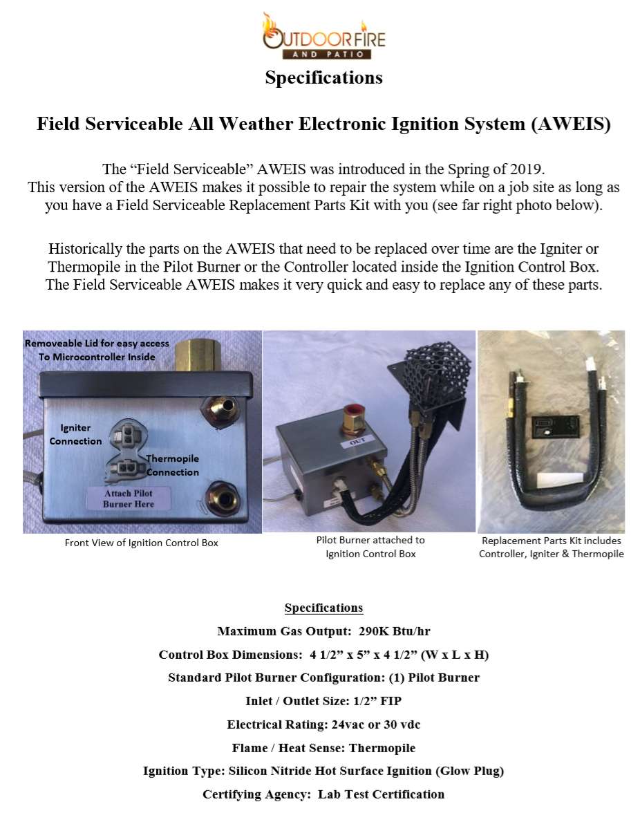 Field Serviceable Ignition System Specs