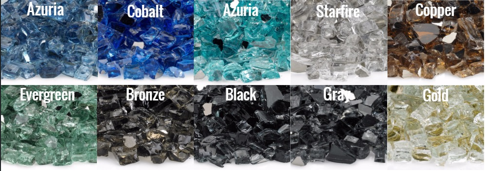 Reflective Fire Glass Color Selection