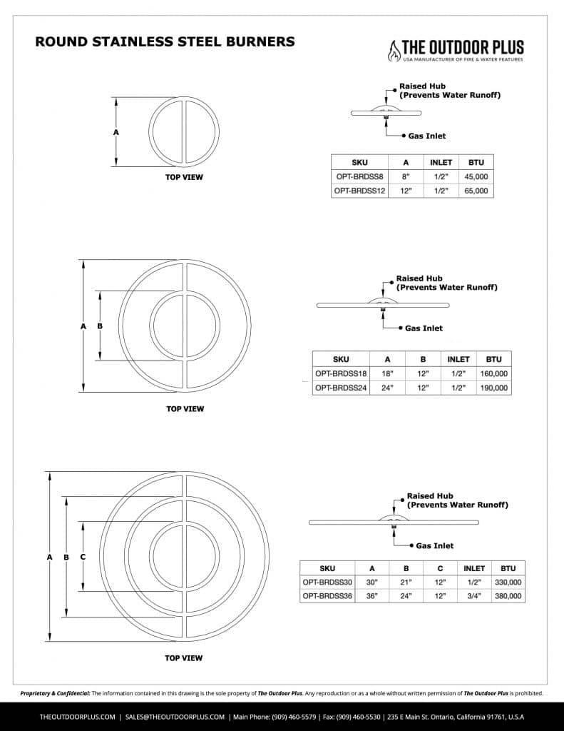 Stainless Steel Round Bullet Burner Spec Sheet